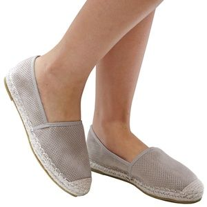 New Gray Perforated Slip On Espadrille Flats
